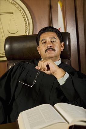 Pensive judge in court